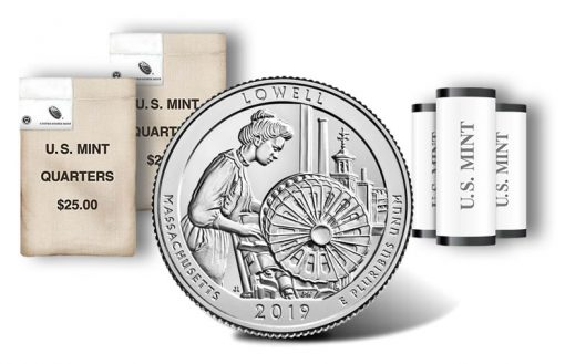 Lowell National Historical Park quarter, rolls and bags