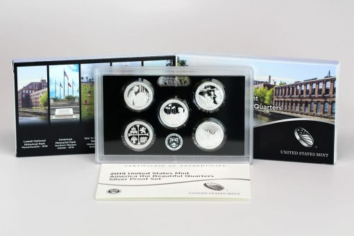 Photo of 2019 America the Beautiful Quarters Silver Proof Set, Packaing, Lens and Cert