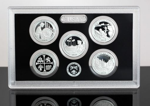 Photo of 2019-S Proof America the Beautiful Silver Quarters and Lens