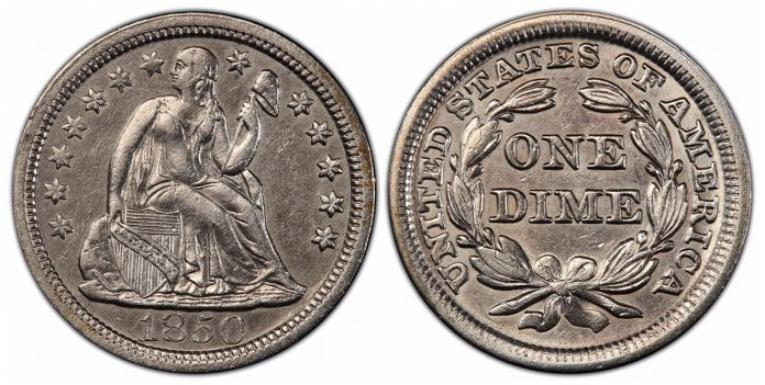 Recovered 1850 dime