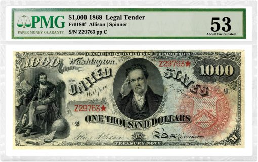 1869 $1,000 Rainbow Legal Tender Note