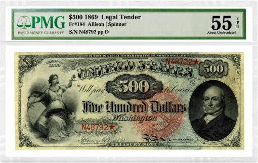 1869 $500 Rainbow Legal Tender Note