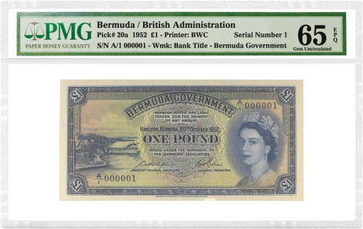 1952 Bermuda £1 British Admin SN000001