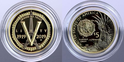 Photo of 2019-W $5 Proof American Legion 100th Anniversary Gold Coin