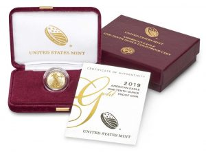 US Mint Image of 2019-W $50 Proof American Gold Eagle and Packaging