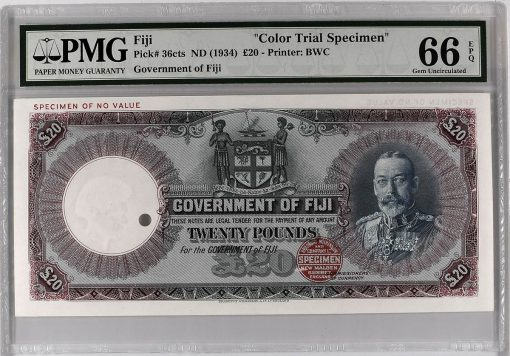 1934 Fiji £20 Color Trial Specimen