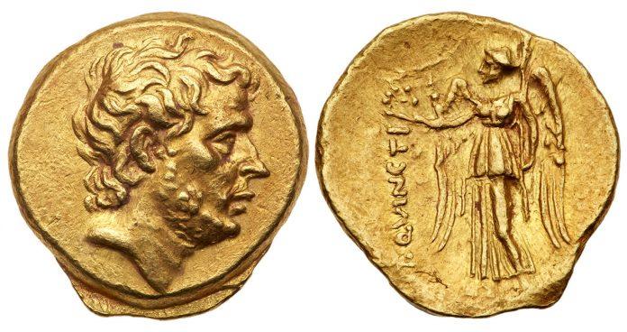 196 BC gold Stater depicts T. Quinctius Flamininus