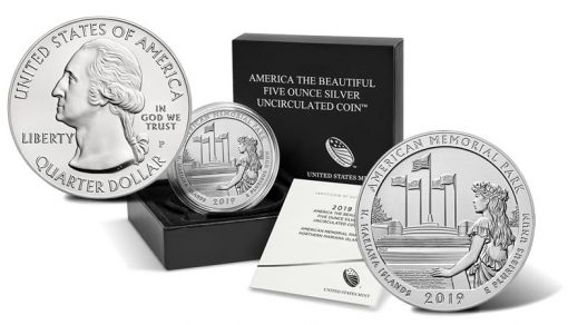 2019-P American Memorial Park Uncirculated Five Ounce Silver Coin and Packaging