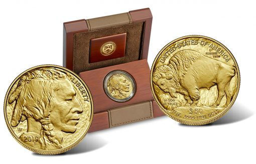 2019-W $50 Proof American Buffalo Gold Coin - Both Sides and Case
