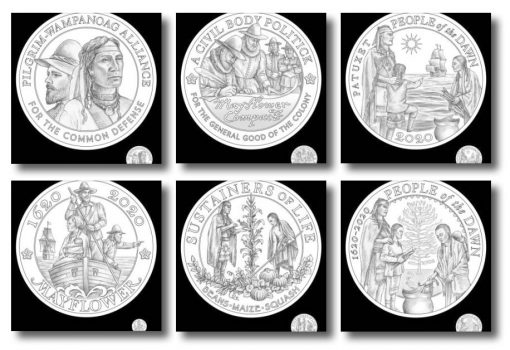 2020 Mayflower gold coin and silver medal design candidates