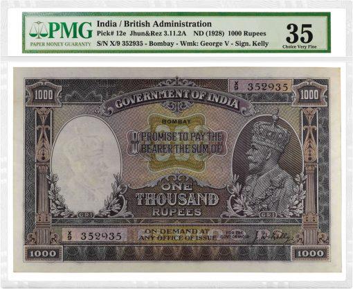 India Undated (1928) 1,000 Rupees
