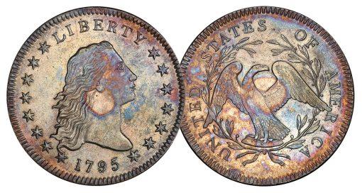 $1 1795 SILVER PLUG PCGS AU55 CAC