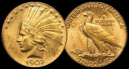 $10 1907 WIRE RIM. PCGS MS65+ CAC