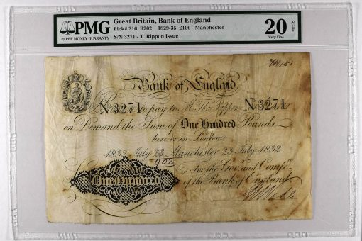 1829-35 £100 - Manchester, graded PMG 20 Very Fine NET
