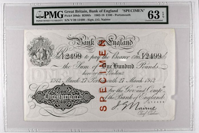 1902-18 Great Britain £100 – Portsmouth Specimen
