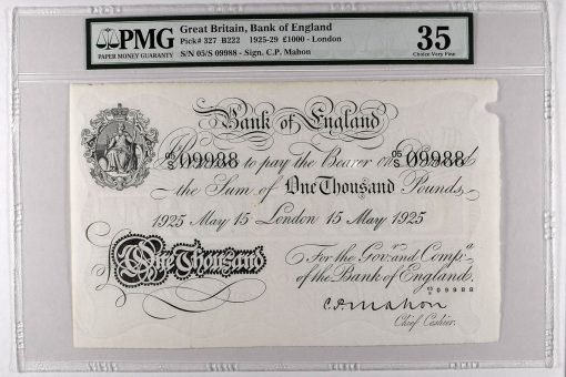 1925-29 £1000 - London, graded PMG 35 Choice Very Fine