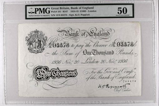 1934-43 £1000 - London, graded PMG 50 About Uncirculated. Estimate