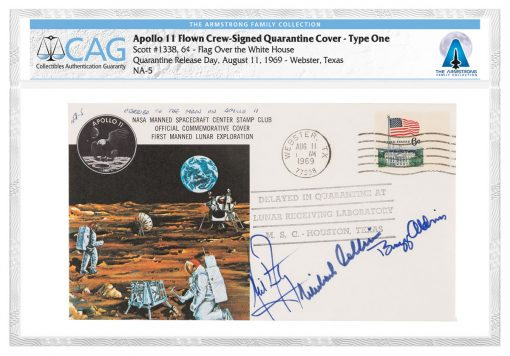 1969 Apollo 11 Flown Crew-Signed Quarantine Cover - Type One
