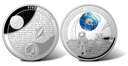 2019 $5 50th Anniversary Moon Landing 1oz Silver Proof Coin