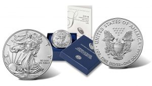 2019-W Uncirculated American Silver Eagle – obverse, case and reverse