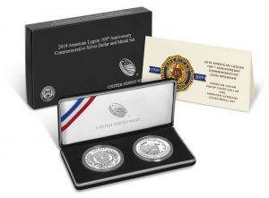 American Legion 100th Anniversary Proof Silver Dollar and Medal Set