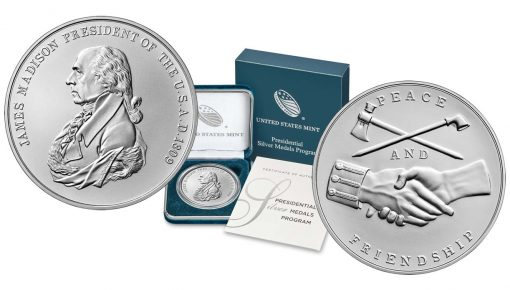 U.S. Mint images James Madison Presidential Silver Medal