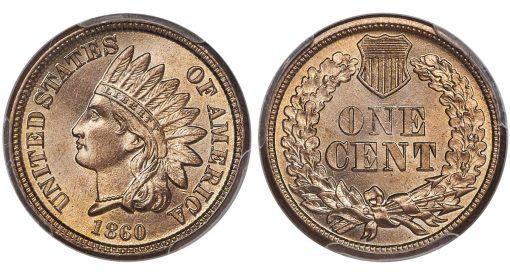 1860 1C, PCGS MS67 CAC