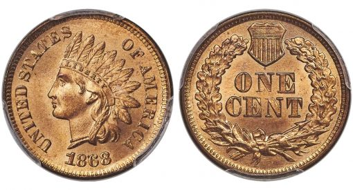 1868 1C MS66 Red