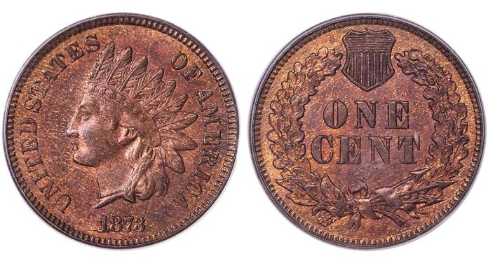 1873 1C Doubled LIBERTY, PCGS MS65 Red and Brown