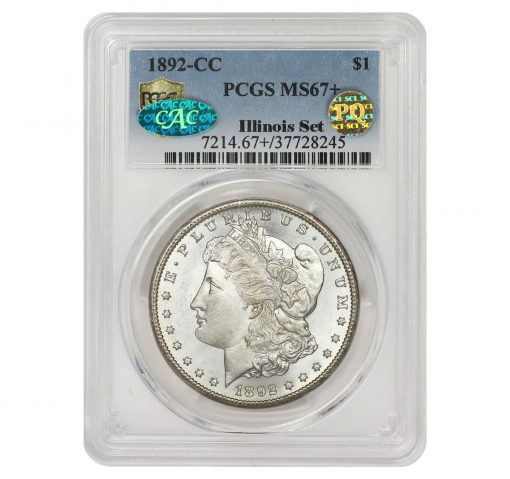 1892-CC Morgan Dollar, graded PCGS MS67+ CAC PQ