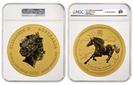 2014 Australia Year of the Horse $30,000 10-Kilo Gold Coin, graded NGC MS 69
