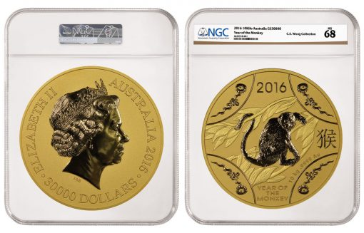 2016 Australia Year of the Monkey $30,000 10-Kilo Gold Coin, graded NGC MS 68
