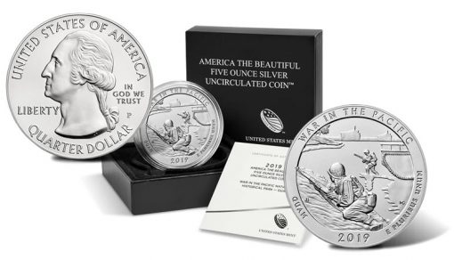 2019-P War in the Pacific Uncirculated Five Ounce Silver Coin and Packaging