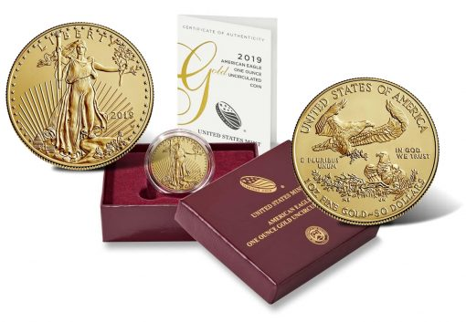2019-W $50 Uncirculated American Gold Eagle, Case and Cert