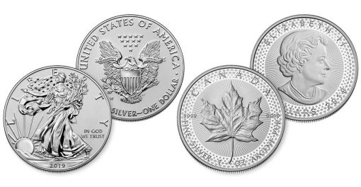 2019-W Enhanced Reverse Proof American Silver Eagle and 2019 Modified Proof Canadian Silver Maple Leaf