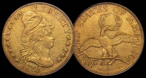 $5 1795 Small Eagle. PCGS AU55 CAC