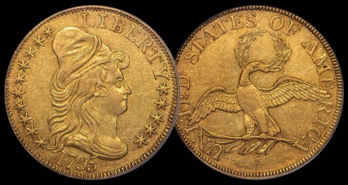 $5 1795 Small Eagle. PCGS AU55 CAC