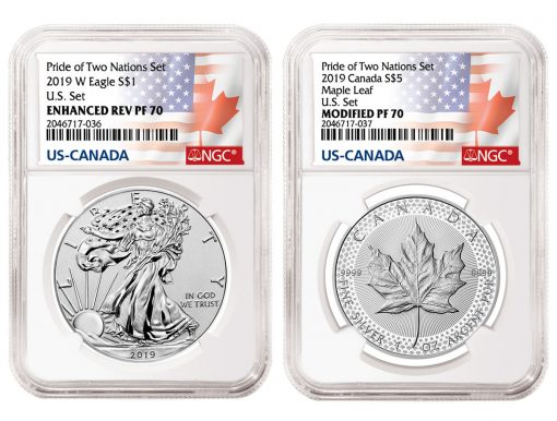NGC Labels 2019-W Enhanced Reverse Proof Silver Eagle and 2019 Modified Proof Silver Maple Leaf