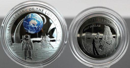 2019 $5 Moon Landing 1oz silver coin and 2019 Apollo 11 clad half dollar