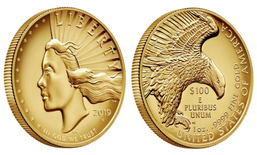 2019 American Liberty High Relief Gold Coin - angled