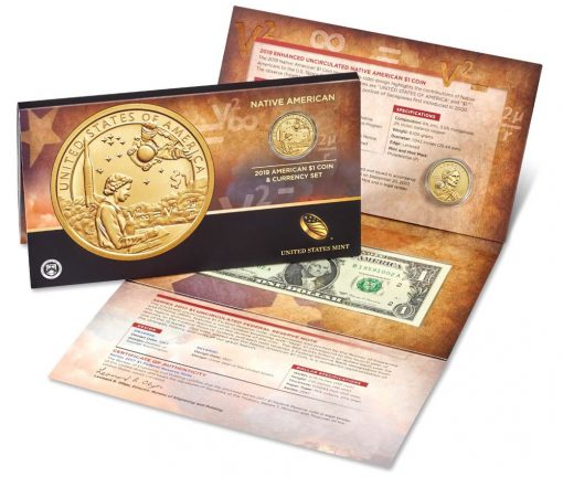 2019 Native American $1 Coin and Currency Set, US Mint image