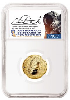 2019-W $5 Apollo 11 First Day Of Issue PF70 Ultra Cameo Charlie Duke Signature