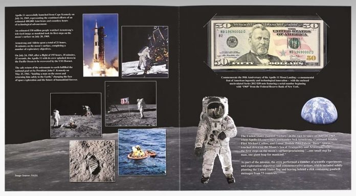 BEP Presentation Folder for Apollo 11 50th Anniversary Currency Set