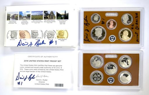 Director Signature on 2019 Proof Set lens and packaging