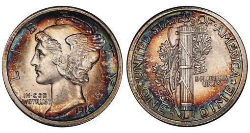 Lot 197. 10C 1916-D Mercury. PCGS MS64 FB CAC