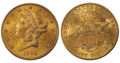 Lot 482. $20 1904 PCGS MS67