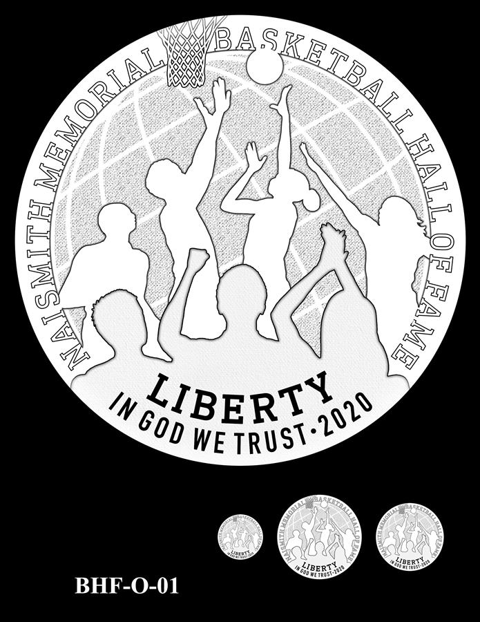 Obverse 2020 Basketball Coin Design Candidate BHF-O-01