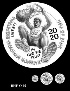 Obverse 2020 Basketball Coin Design Candidate BHF-O-02