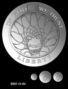 Obverse 2020 Basketball Coin Design Candidate BHF-O-04