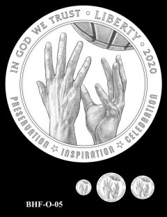 Obverse 2020 Basketball Coin Design Candidate BHF-O-05